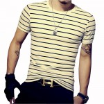 Men T Shirt Summer Short Sleeve T Shirt Men Striped O Neck T Shirts Men's Striped Slim Fit Tees Casual Male Tops Plus Size 5XL