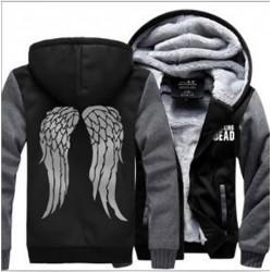 Men The Walking Dead winter fleece Sweatshirt Zombie Daryl Dixon Wings Tracksuit zipper coat Hooded 2017 funny thick jacket down