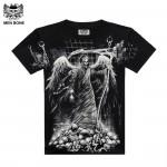[Men bone] New Fashion Crime is the angel of death came men wild T shirt Grim Reaper Punisher Black Print TShirt All Size
