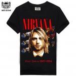 [Men bone] New Summer Fashion Men T-shirt The Beatles/ Nirvana Printed Rock Black Hip Hop Casual T Shirt For Rock Men Retail