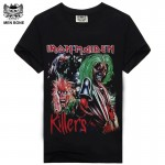 [Men bone] Tee Men T Shirt Tshirt Men's Shirt Fitness Cotton Iron Maiden Print Heavy Metal Rock Hip Hop Style Clothing