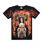 [Men bone] shirt men death skeleton figures rock t-shirts with Dragon/Wolf/skull/angel short sleeves cotton free shipping