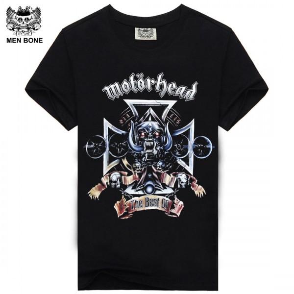 [Men bone] summer hip hop t shirt for men motorhead skull crime style print t-shirt men's cotton band t-shirt free shipping