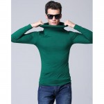 Men modal turtleneck long-sleeve T-shirt spring 2017 new autumn student popular slim thin male elastic basic shirt teenager boys