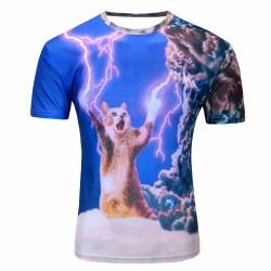 Men summer T-shirt Lightning cat 3d style 2016 fashion brand clothing camiseta hombre manga corta Free shipping