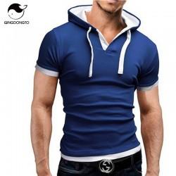 Men'S T Shirt 2017 Summer Fashion Hooded Sling Short-Sleeved Tees Male Camisa Masculina T-Shirt Slim Male Tops 4XL