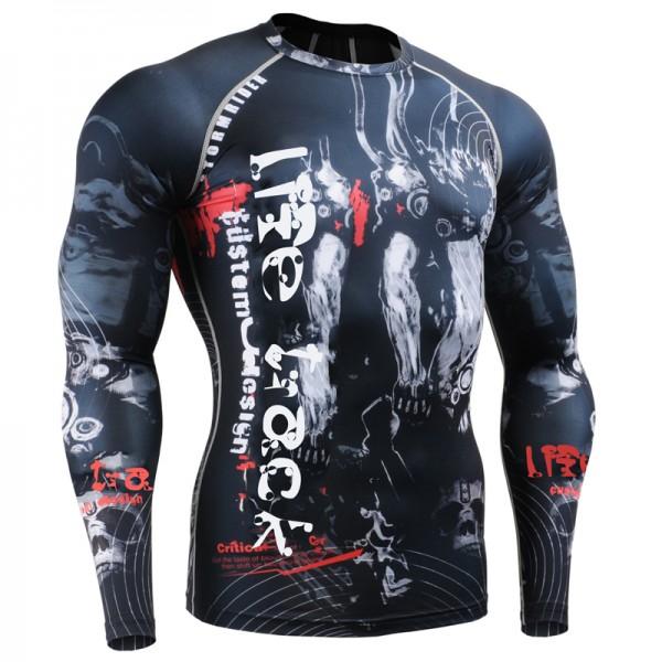 Men's MMA Compression Shirts Rashguard Fitness Long Sleeves 3D Prints Joggers Base Layer Skin Tight Tops Weight T-Shirts