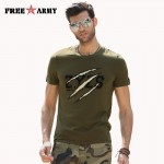 Men's T Shirt Fashion Brand Army Green Letter Printed Round Neck Short Sleeves Cotton Summer Outfits Men's Tops & Tees MS-6291A