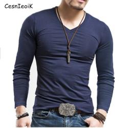 Men's Tops Tees 2017 summer new v neck Long sleeve t shirt men fashion trends fitness tshirt