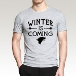 Mens Letter Printed Game of Thrones Winter Is Coming T-Shirt 2016 Summer Hip Hop Short Sleeve O-Neck Tee Fashion Streetwear Tops
