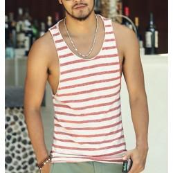 Mens Undershirt Tank Top Vest Sleeveless t shirt Top for men Fitness Summer Beach Bamboo cotton striped 2016 new