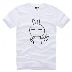 Mens cartoon cute rabbit Keith yes Printed T Shirt Tshirt Men 2016 New Short Sleeve O Neck Cotton T-shirt Tee Camisetas Hombre