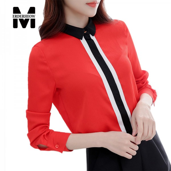 Merderheow 2017 Spring Fashion OL Style Office Work Women long sleeve Shirt high quality Chiffon Casual Blouse Ladies Tops L360