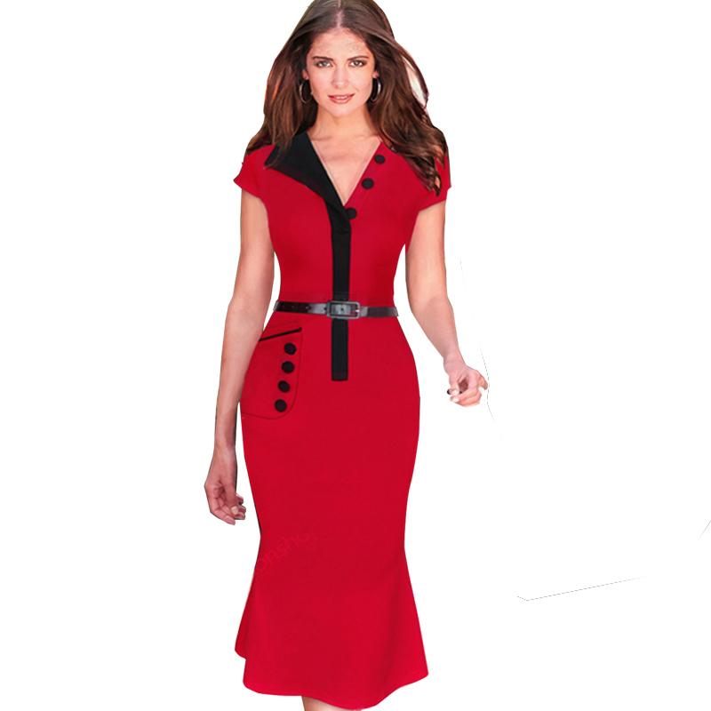 Mermaid Red Formal dresses Cap Sleeve Pocket Summer dress Women V ...
