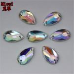 Micui 200PCS 8*14mm Drop Shape AB Acrylic Rhinestone Sew On Flat Back Fancy Crystal Stones For Clothing Dress Decorations ZZ317