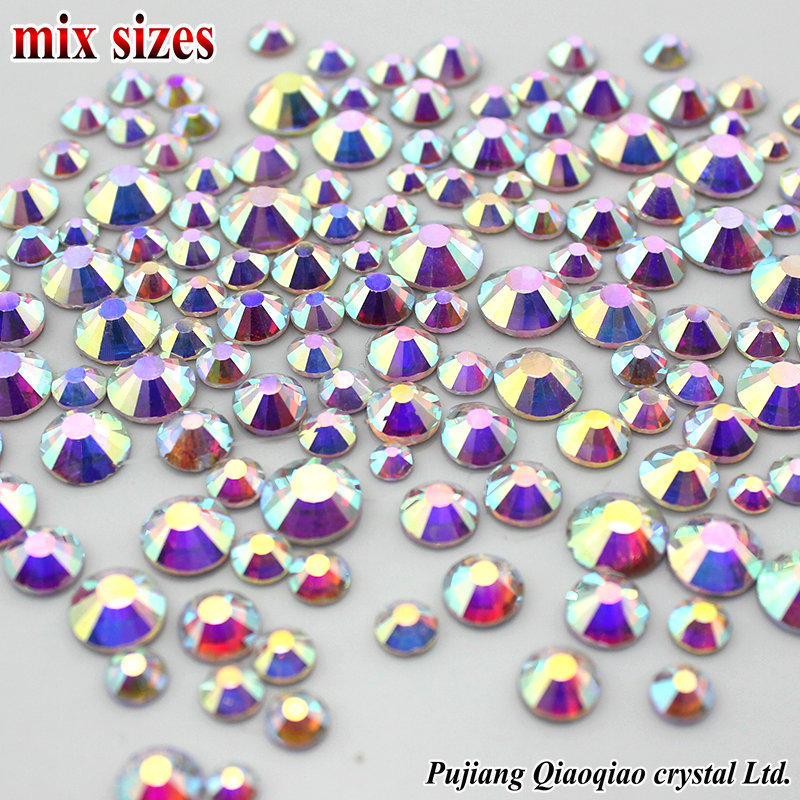 Mix Sizes SS3-SS16(1.3mm-4.0mm) 3D Nail Art Rhinestones Shiny Clear AB Non  HotFix Stones Flatback For Nails Decoration d03b126bd9a1