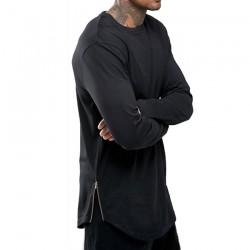 Moomphya fashion street wear t shirt men extend swag side zip t shirt Super Longline Long Sleeve T-Shirt With Curve Hem And Zip