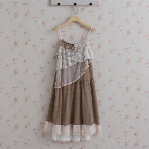 Mori Girl Lace Tulle Spaghetti strap Princess Dress Women Summer Beach Dress Lolita Vestidos Verao Faldas Boho Tunique 16892