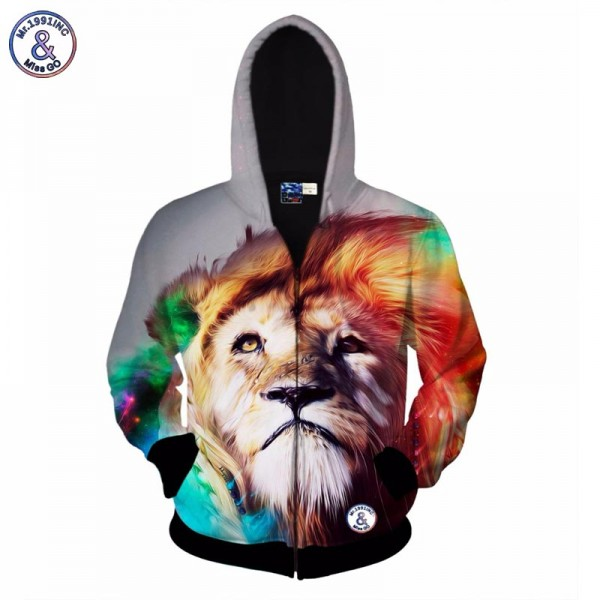 Mr.1991INC 3d zipper sweatshirt for men fashion hooded print the lion king hoody with hat hoodies Asia size S-XXL