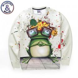Mr.1991INC Autumn Winter Thin Style Men/women Digital Print Cartoon Frog Casual Hoodies Long Sleeve Pullovers 3d Sweatshirts