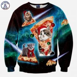 Mr.1991INC Hot Sell Men/Women Hoodies Plus Velvet Long Sleeve Male Fleece Sweatshirt Tracksuit Tops Print Pizza Cat Hoodies