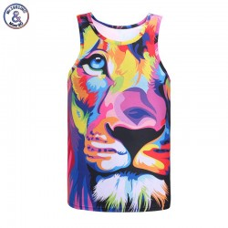 Mr.1991INC Impression style men 3d vest printing watercolor lion animals summer cool slim tank tops tees Asia size