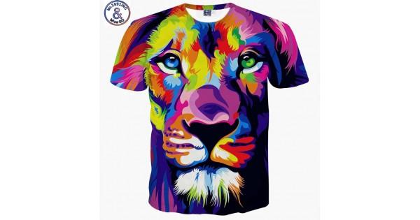 design de qualité 8a007 d1be3 Mr.1991INC Impression style men/women 3d T-shirt printing watercolor lion  animals summer cool slim t shirt tops tees Asia size