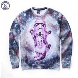 Mr.1991INC NNew fashion men/women casual space galaxy hoodies funny print cat astronauts autumn winter thin 3d sweatshirts