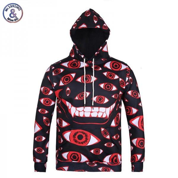Mr.1991INC New Arrivals Men/women Cap Hoodies Hooded 3d Print Many Eyes Autumn Winter Thin Hoody Cartoon 3d Sweatshirts