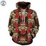Mr.1991INC New Autumn Winter Fashion Men/women Hooded Hoodies Print Roses Flowers Skulls 3d Sweatshirt With Cap Hoody Tops