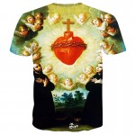 Mr.1991INC New Fashion Men/Women Tshirts 3d Print Angels And Red Heart 3d T-shirt Summer Tops Tees Religion Shirts