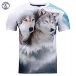 Mr.1991INC New Fashion Men/women 3d t-shirt print forest double snow wolf summer tees shirt tops tees plus size t-shirt