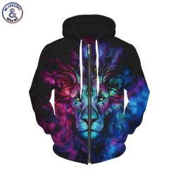 Mr.1991INC New Fashion Men/women Hoodies With Cap Print Lion King Autumn Winter Fleece Zipper Hooded Hoody 3d Sweatshirts