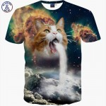 Mr.1991INC New Fashion Space/Galaxy men brand t-shirt funny print super power cat Jetting water 3D t shirt summer tops tees