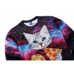 Mr.1991INC New Galaxy 3d sweatshirts for men/women casual hoodies funny print stars night  cat eating Pizza hoodies