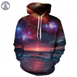 Mr.1991INC Space Galaxy Sweatshirt With Cap Men/women Hooded Hoodies 3d Print Seaside Sun Rising Autumn Thin Hoody