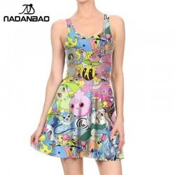 NADANBAO Summer Autumn Pokemon GO Pikachu Print Women Dress Woman Sexy Sleeveless Vestidos Beach Dress Womens Clothing