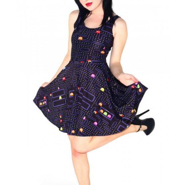 NEW 1099 Sexy Girl Women Summer classical FC PAC-MAN game 3D Prints Reversible Sleeveless Skater Pleated Dress
