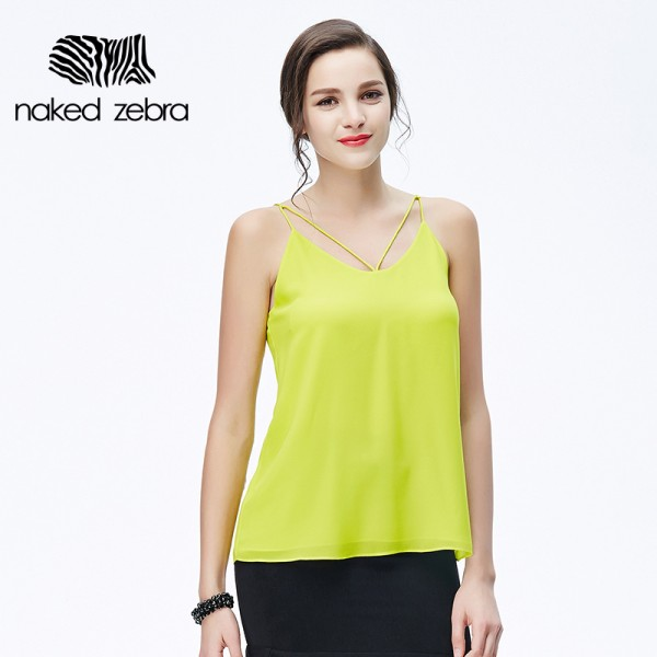 Naked Zebra Sexy Woman Sling Vest Solid Color Round Collar Special Sling Design Summer Tops Charming Lady Loosed Leisure Tank