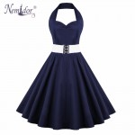 Nemidor 2018 Summer Elegant Halter Patchwork Swing Dress Sexy Backless Knee Length Belted Party Retro Dress