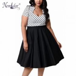 Nemidor Women Plus Size Sexy 4XL Square Collar Midi Dress Dot Patchwork Short Sleeve Vintage Swing A-line Dress