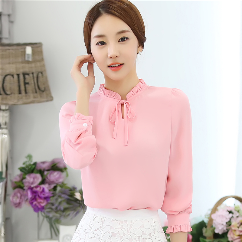 947e0172a70087 New 2016 Fashion Korean Style Women Blouses Long Sleeve Bow Tie Solid Shirts  Lady Chiffon Shirts Plus Size Blouses Tops 880I 25