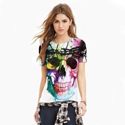 New 2016 Harajuku 3d tshirt Weird Skull Printed Colorful T-shirt Womens t shirts Casual Tees Tops Punk Rock Style