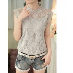 New 2016 Korean Style Fashion Summer Loose Sleeveless White Gray Female Blouse Slim Elegant Lace Women Shirt Plus Size 59G 30