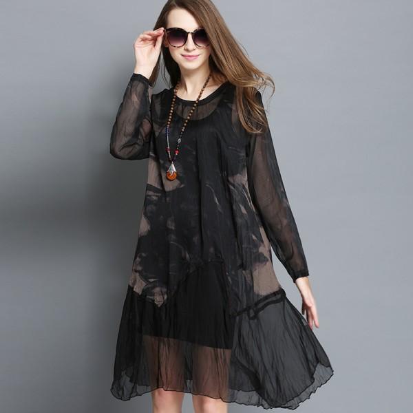 New 2016 Spring women knee-length dress perspective dress Plus Size ink printed chiffon dress asymmetrical vestidos XXXXL 8989