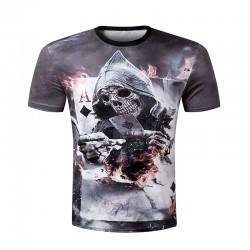 New 2016 Summer 3d Men short sleeve t-shirt men Skull Burning Print BLINDING Newest Design Casual Style Cool Men's 3d tee shirt