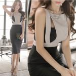 New 2016 Summer Elegant Women Work Wear Slim OL Office Pencil Dresses Lady Sleeveless Off the Shoulder Sexy Dress Vestidos K118