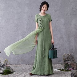 New 2016 Summer Women Cotton Linen loose long Dress elegant China Style maxi dress embroidery chiffon patchwork longos vestidos