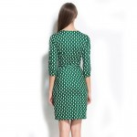 New 2016 Women Fashion Wrap Dress V-Neck Cropped Sleeve belted Dots Print Dress Waistband Split Sheath Party Work Causal Dress