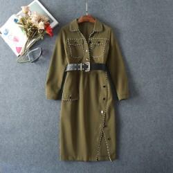 New 2016 autumn winter runway fashion women cool military style dress long sleeve side slit belt army green dresses pockets